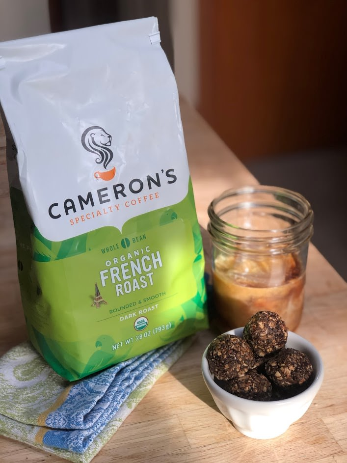 Cameron's Coffee Espresso Energy Bites served with Cameron's Coffee Whole Bean French Roast