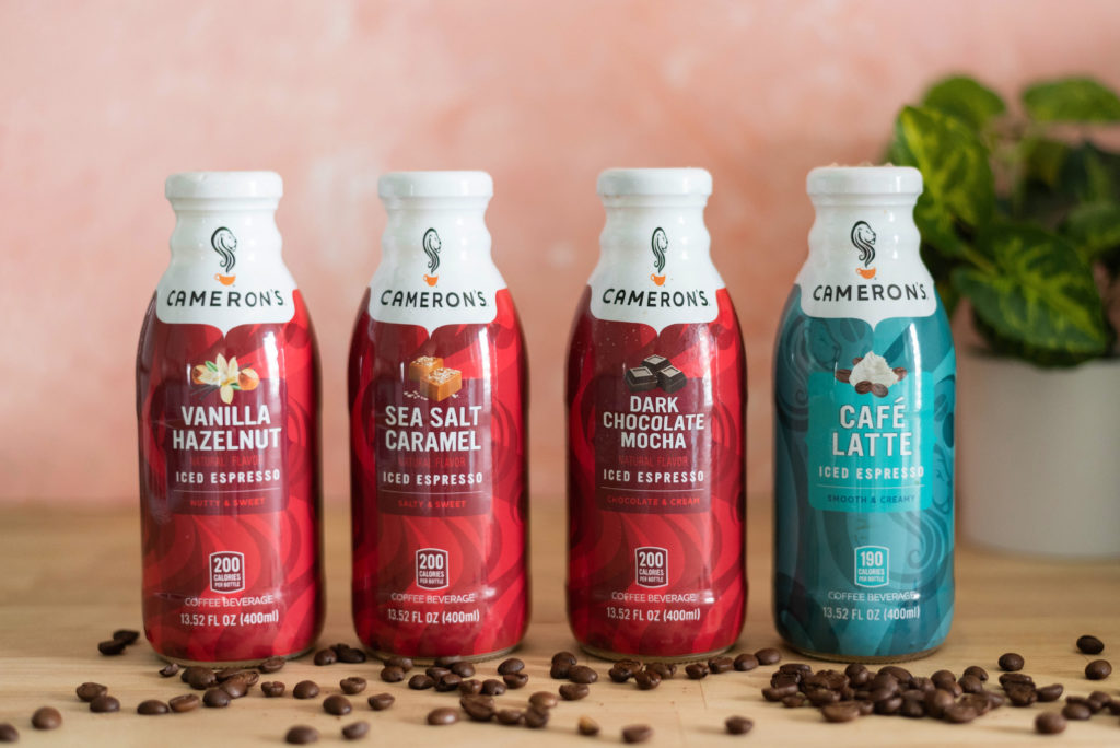 Cameron's Coffee Bottled Iced Espresso Lineup with Coffee Beans